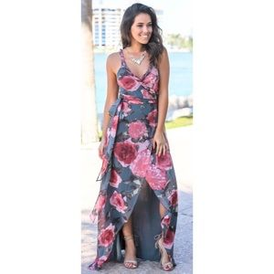 NWT Luxxel High low Floral Wrap Dress small
